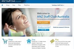 Screen shot of the ANZ Staff Club Portal