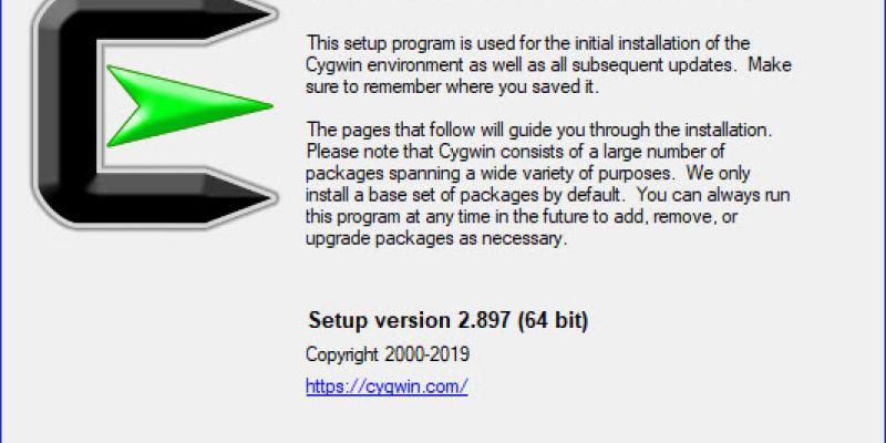 Cygwin installation dialogue box