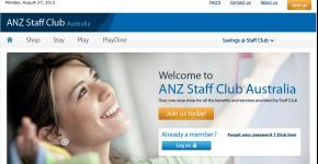 Screen shot of the ANZ Staff Club Portal